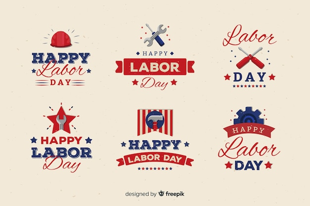 Flat design labor day badge collection Free Vector