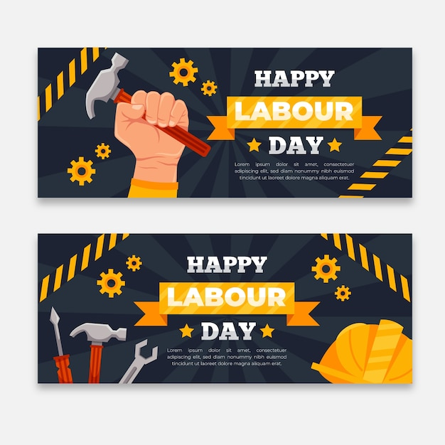 Flat design labor day banners template Free Vector
