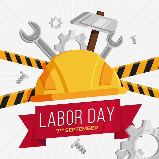 Flat design labor day concept Free Vector