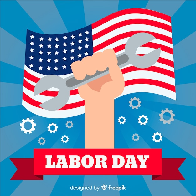 Flat design labor day in usa background Free Vector