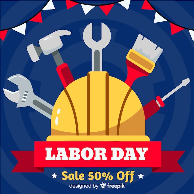 Flat design labor day in usa banner Free Vector