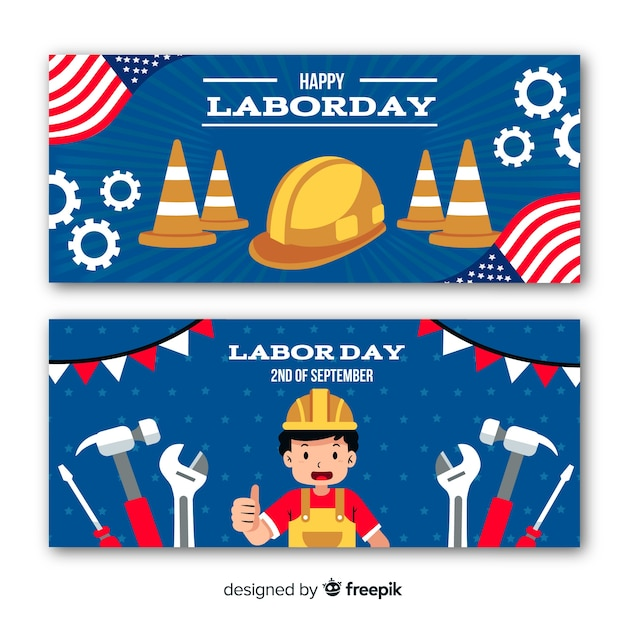 Flat design labor day in usa banners Free Vector