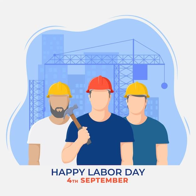 Flat design labor day Free Vector