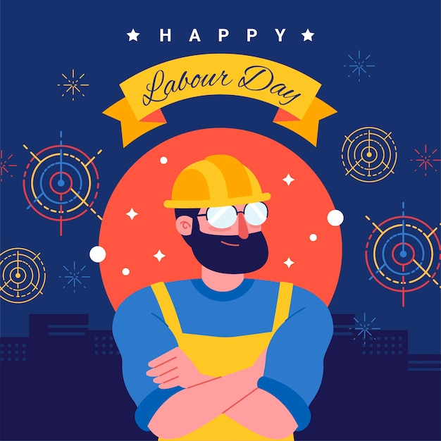 Flat design labour day concept Free Vector