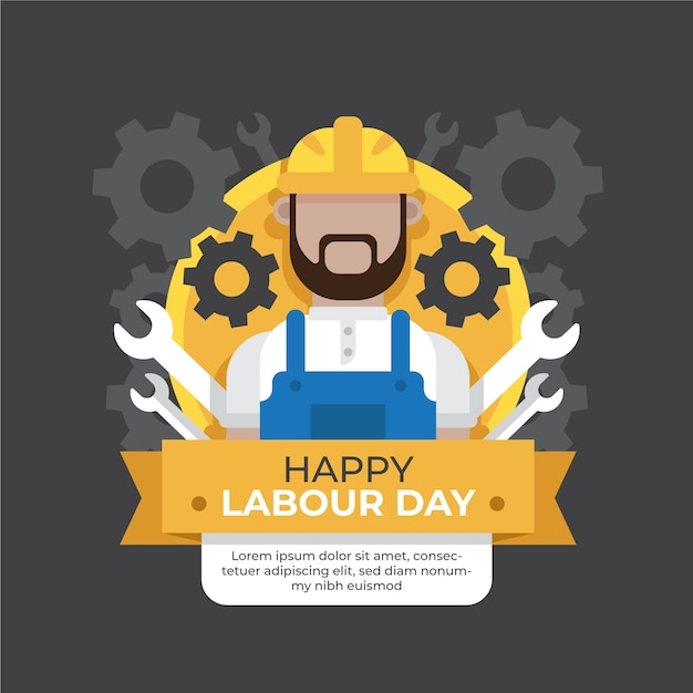 Flat design labour day event Free Vector