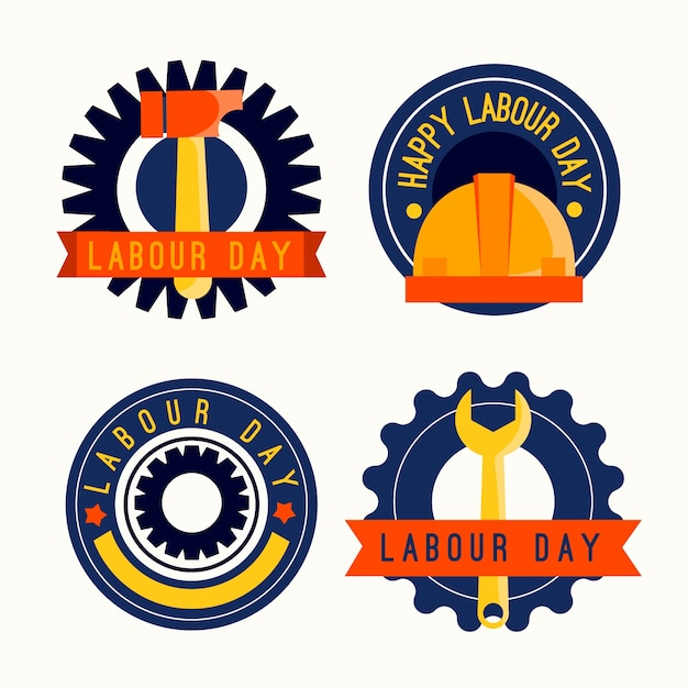 Flat design labour day labels Free Vector