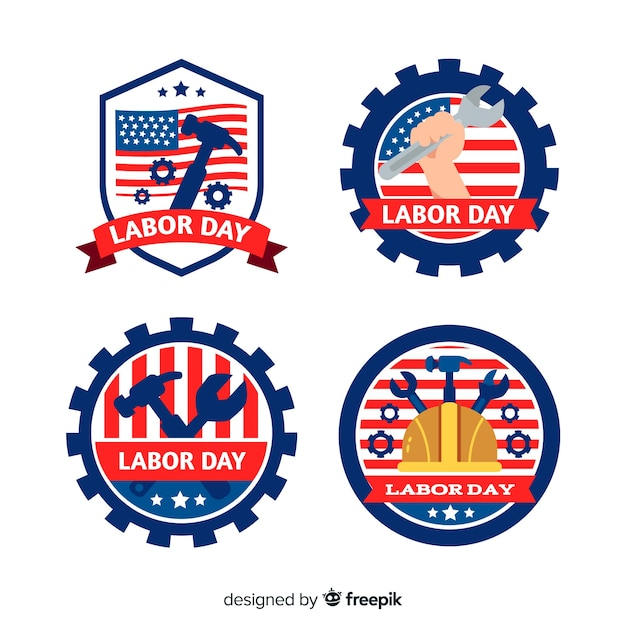 Flat design labour day in usa badge collection Free Vector