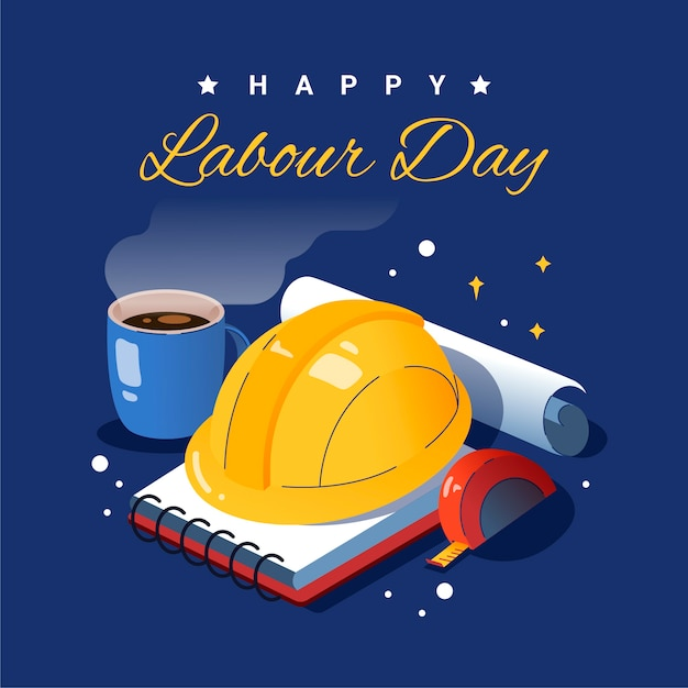 Flat design labour day Free Vector