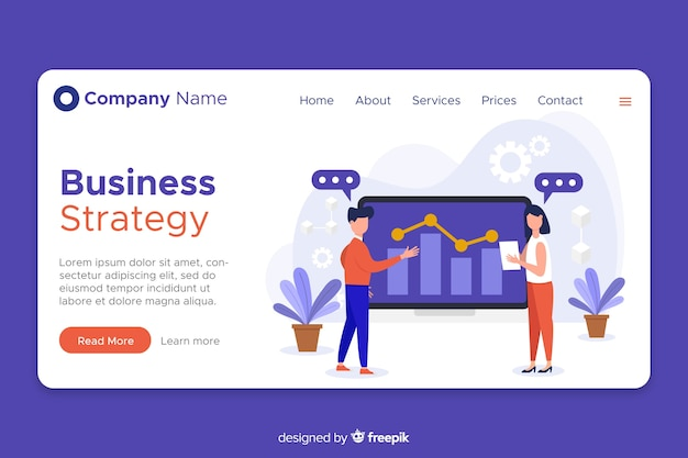 Flat design landing page business strategy Free Vector