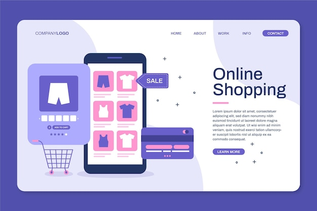 Flat design landing page for online shopping Free Vector