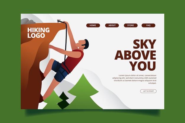 Flat design landing page outdoor sport template Free Vector