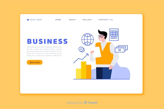 Flat design landing page with elements Free Vector