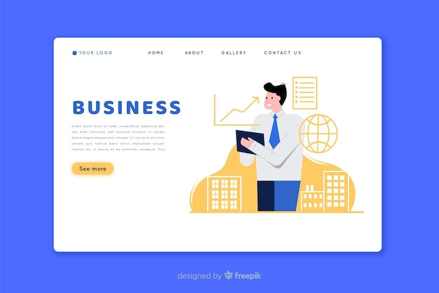 Flat design landing page with man character Free Vector