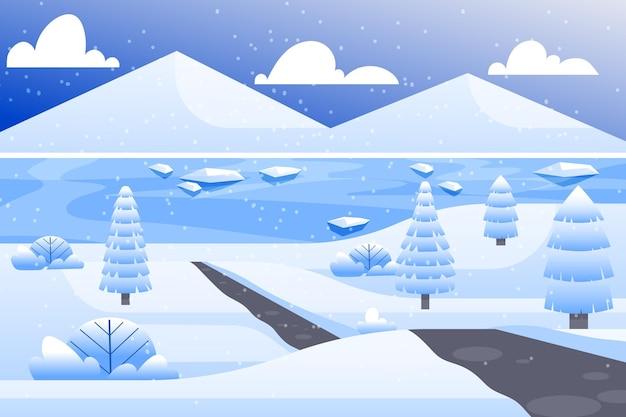 冬の壁紙のフラットなデザインの風景 Premiumベクター
