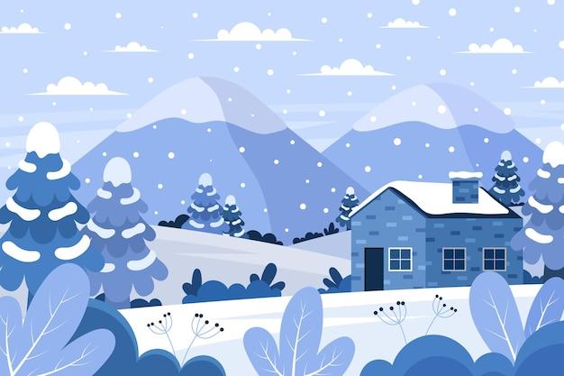 冬のフラットなデザインの風景 Premiumベクター