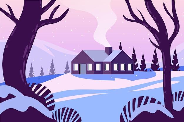 외로운 집의 평면 디자인 풍경 프리미엄 벡터