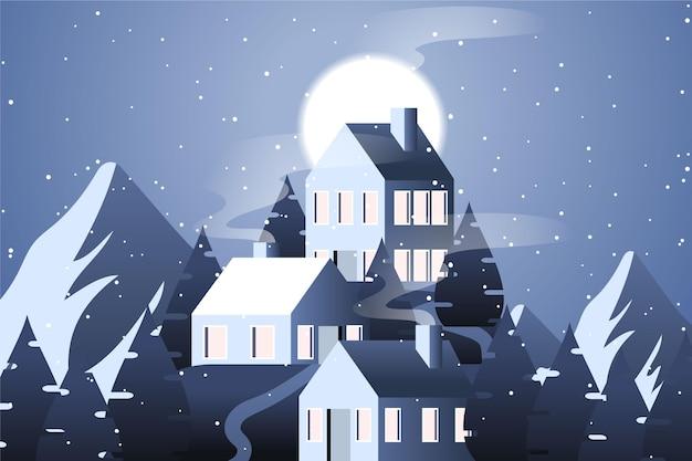 산과 집이있는 평면 디자인 풍경 무료 벡터