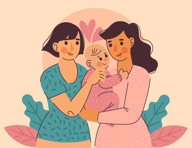 Плоский дизайн лесбийская пара с ребенком Бесплатные векторы