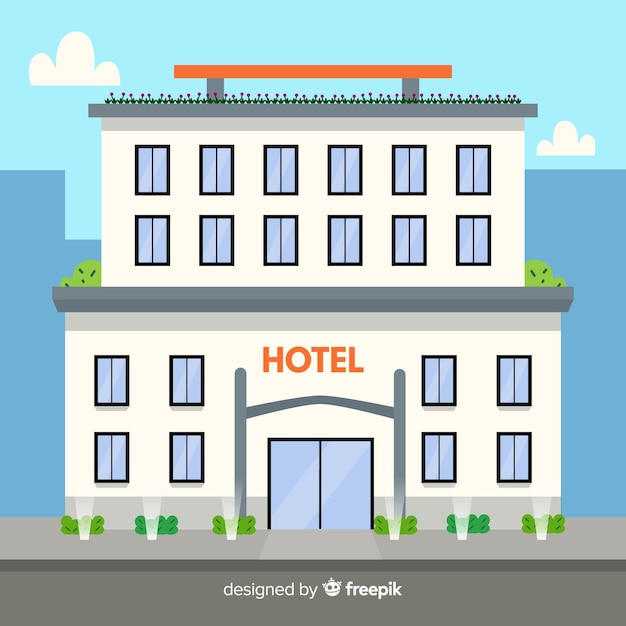 Flat design luxurious hotel building Free Vector