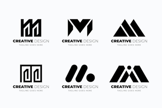 Flat design m logo template collection Free Vector