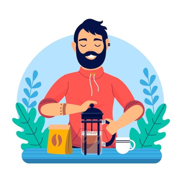 Uomo di design piatto che fa l'illustrazione del caffè Vettore gratuito