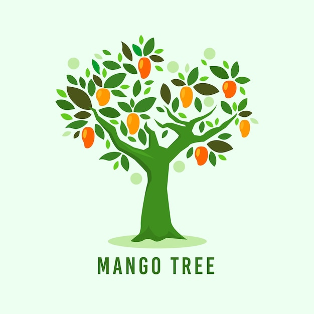 Flat design mango tree illustrated Free Vector