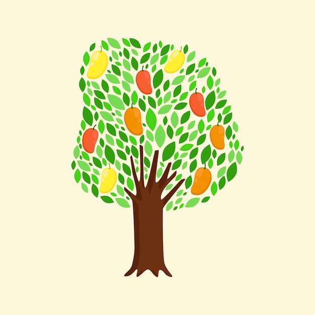 Flat design mango tree illustration Premium Vector