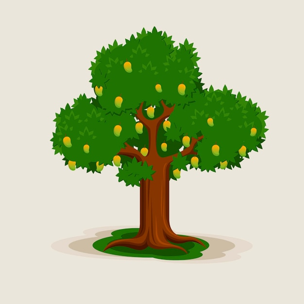 Flat design mango tree with fruits and leaves illustration Free Vector