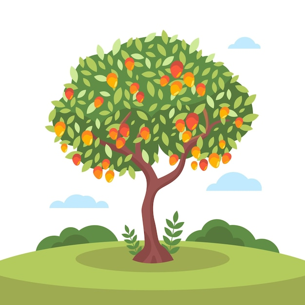 Flat design mango tree with fruits and leaves Free Vector
