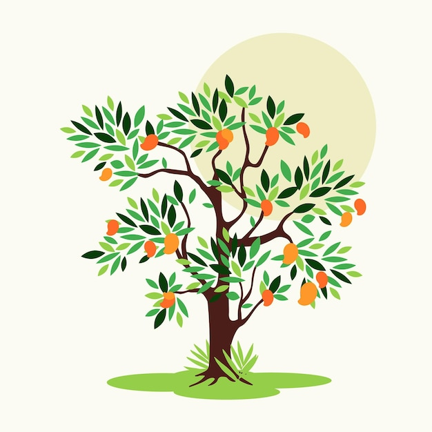 Flat design mango tree with leaves Free Vector