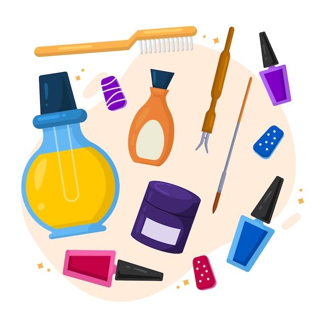 Collezione di strumenti per manicure design piatto Vettore gratuito