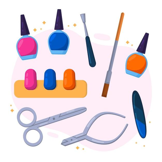 Illustrazione di strumenti di manicure design piatto Vettore gratuito