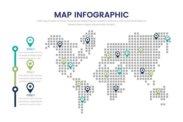 フラットなデザイン地図インフォグラフィック 無料ベクター