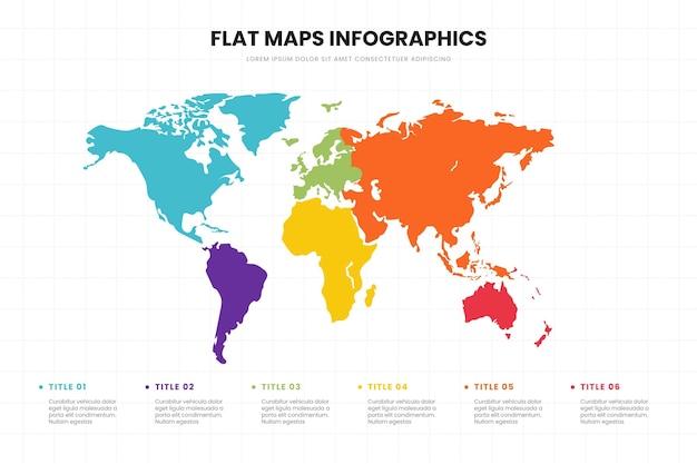 Modello di infografica mappe design piatto Vettore gratuito