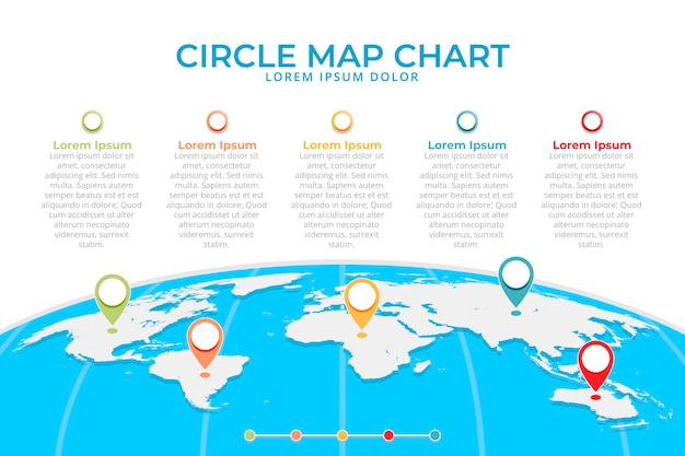 Flat design maps infographic with location icons Premium Vector