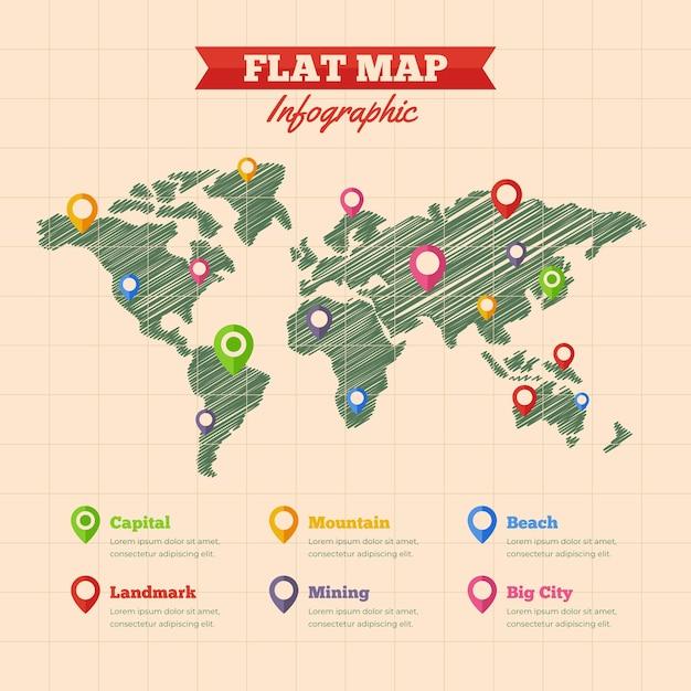 Плоский дизайн карты инфографики Бесплатные векторы