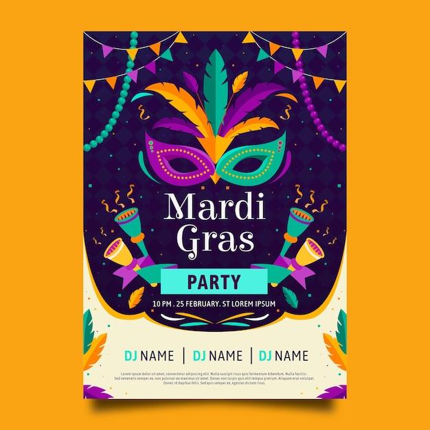 Flat design mardi gras poster template Free Vector
