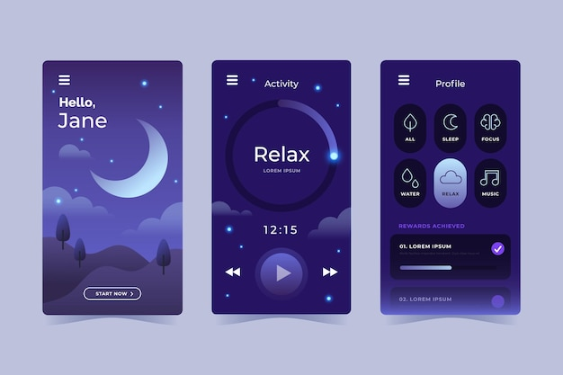 Flat design meditation app collection Free Vector