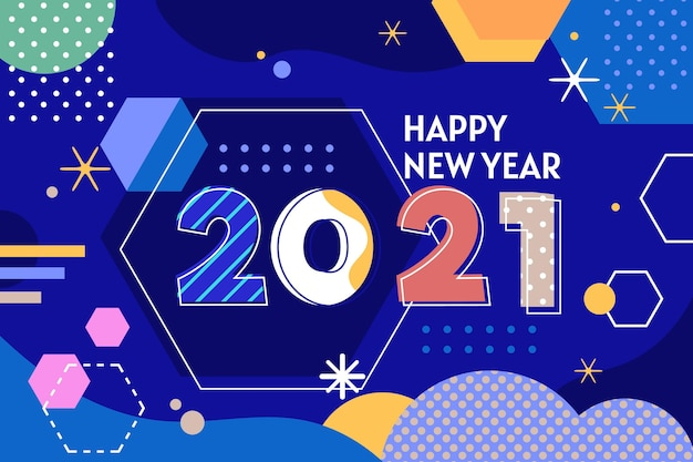 Плоский дизайн в стиле мемфис новый год 2021 фон Бесплатные векторы
