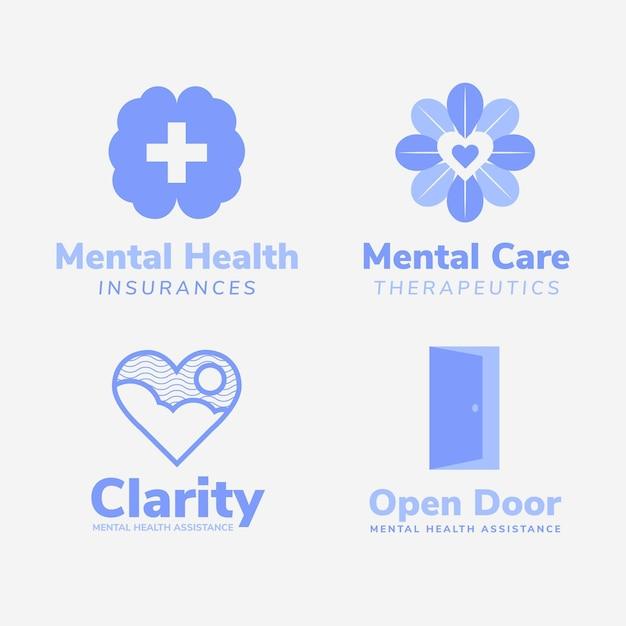 Плоский дизайн логотипа психического здоровья Бесплатные векторы