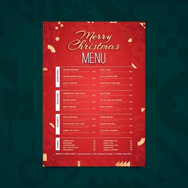 Flat design menu template Free Vector