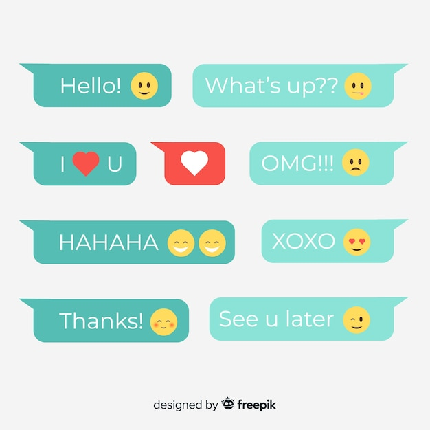 Flat design messages balloons with emojis Free Vector