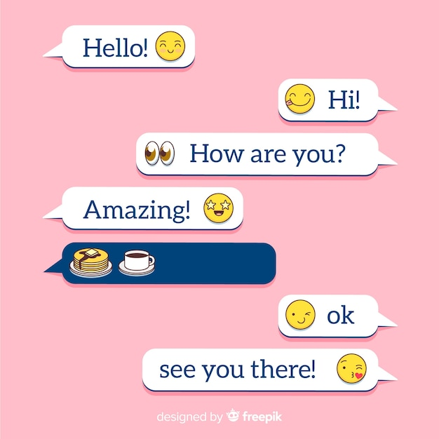 Flat design messages balloons Free Vector