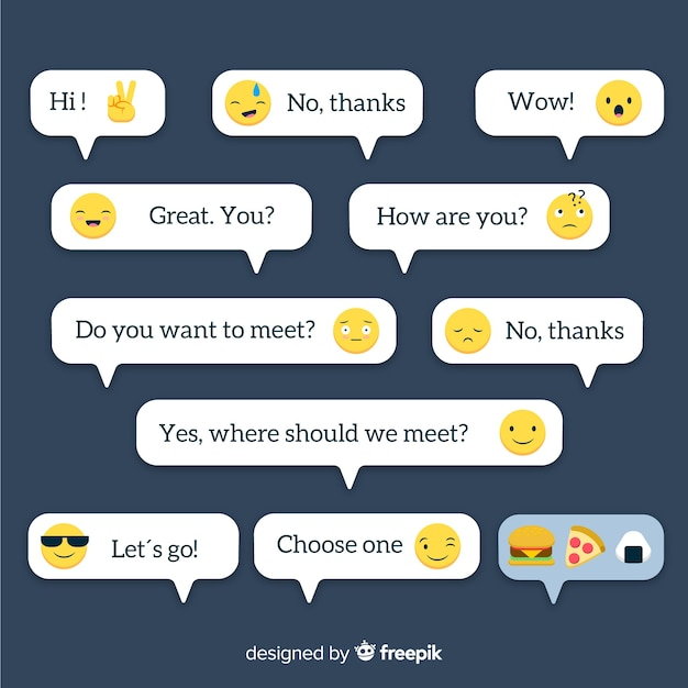 Flat design messages with emojis collection Free Vector