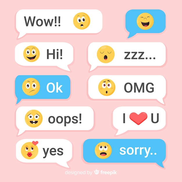 Flat design messages with emojis Free Vector