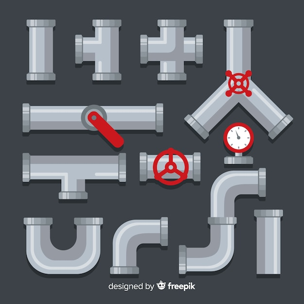 Flat design metal pipeline collection with lever Free Vector