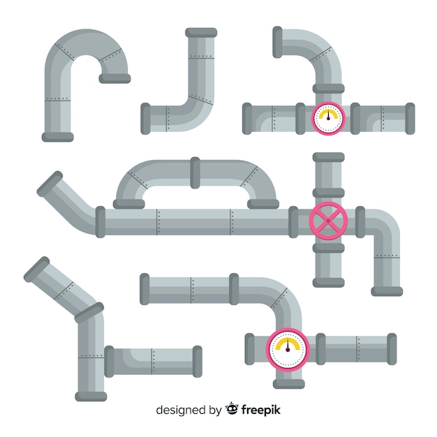 Flat design metal pipes set Free Vector