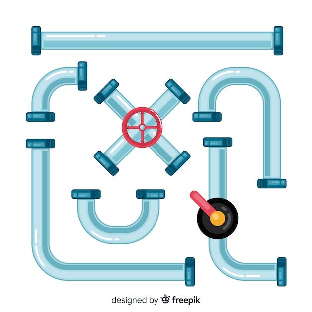 Flat design metallic pipeline set Free Vector