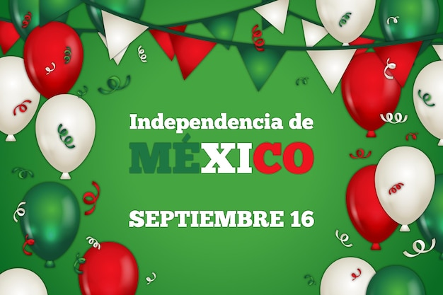 Flat design mexic independence day background Free Vector