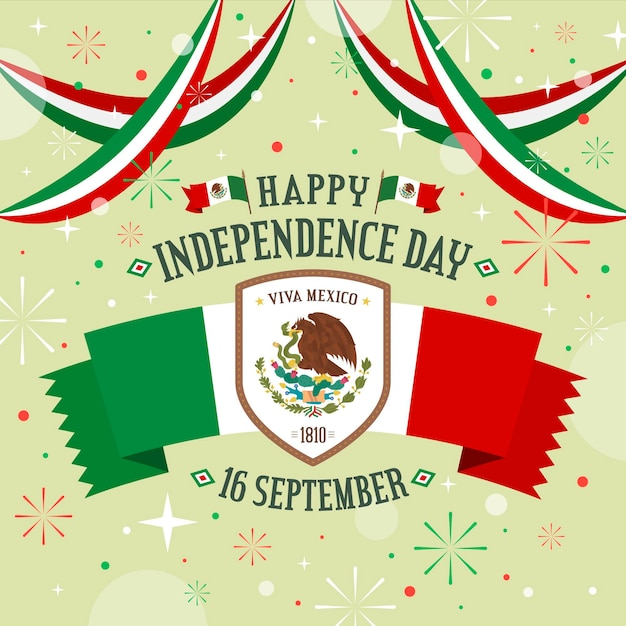 Flat design mexic independence day concept Premium Vector
